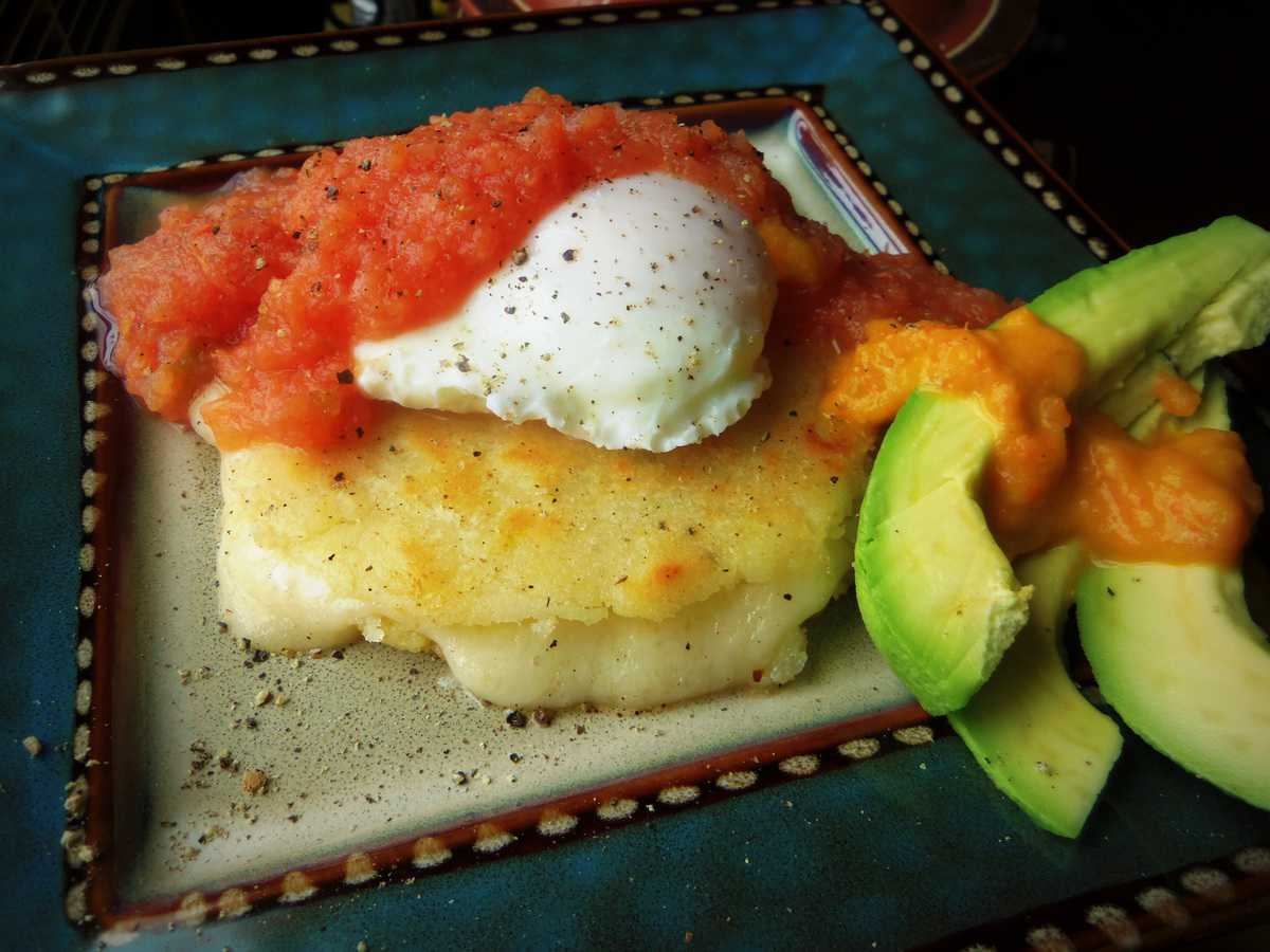Arepa with Poached Egg, Warm Salsa, Stuffed with Cheese!