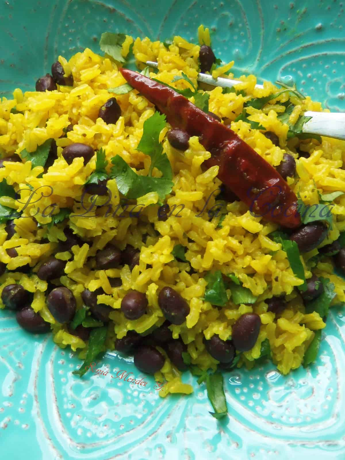Parboiled brown (yellow) rice & beans.
