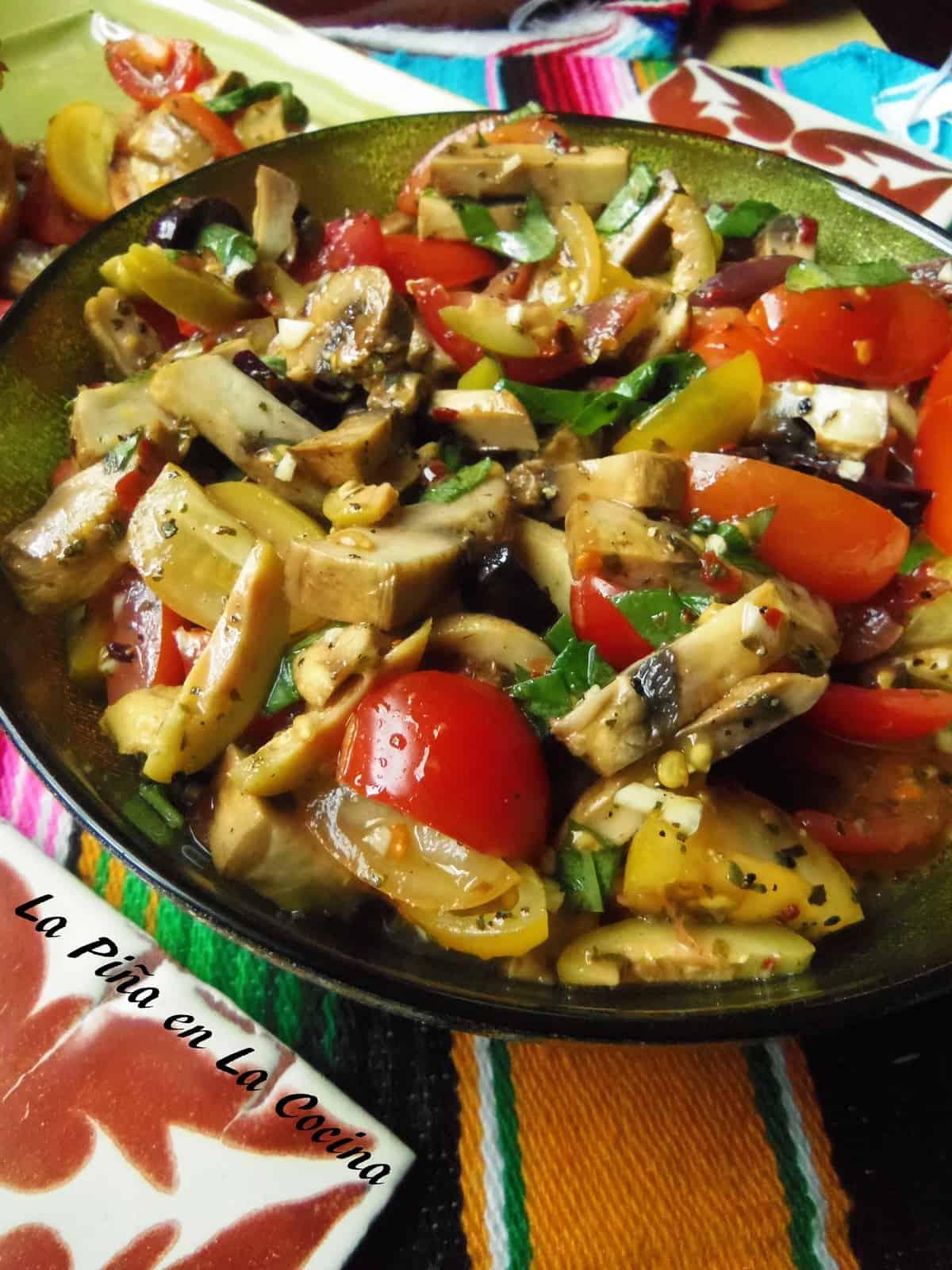 Tomato Basil Bruschetta with Lemon Vinaigrette & Grilled Mushrooms