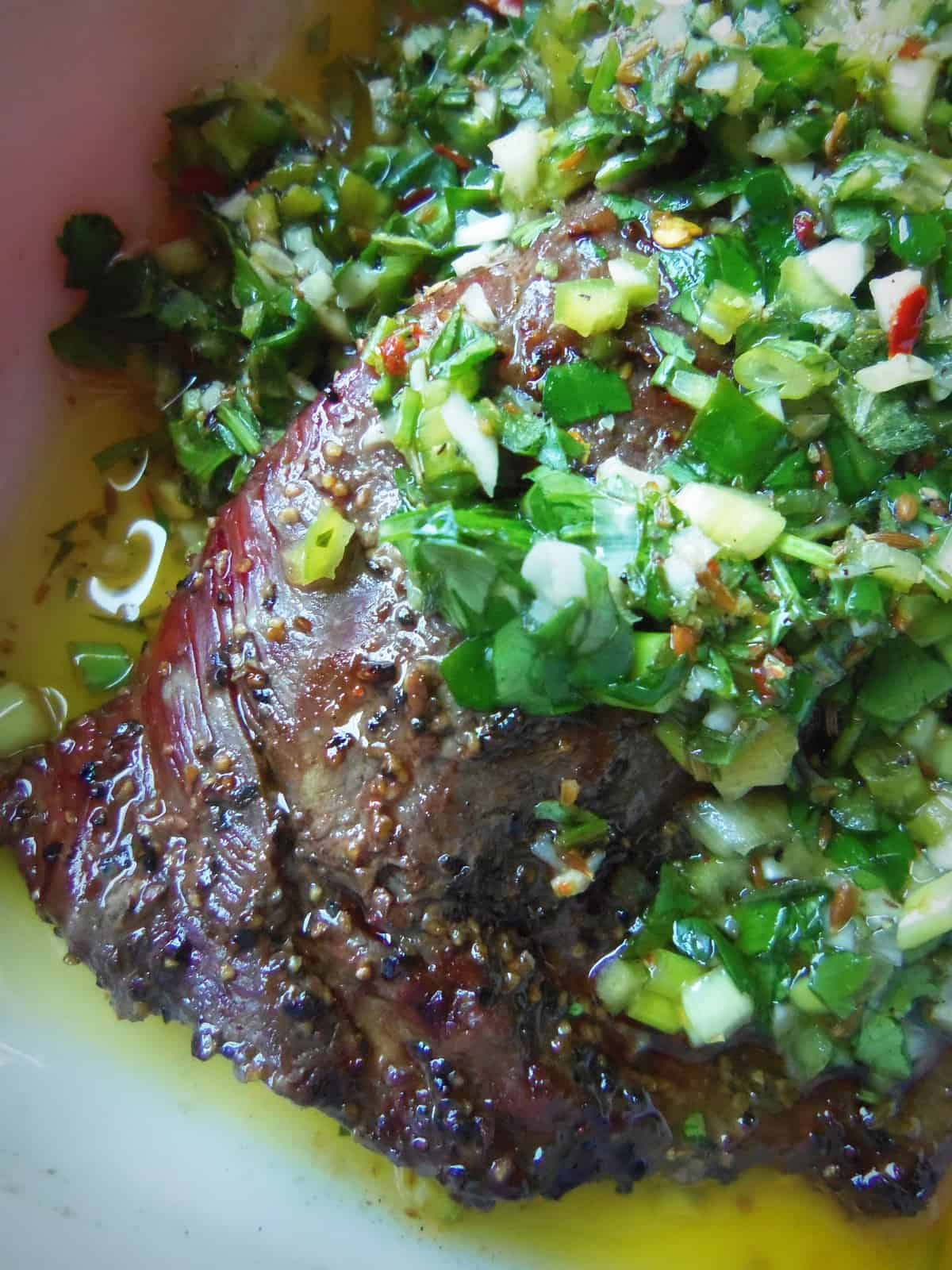 Reverse Marinated Chimichurri Grilled Steak