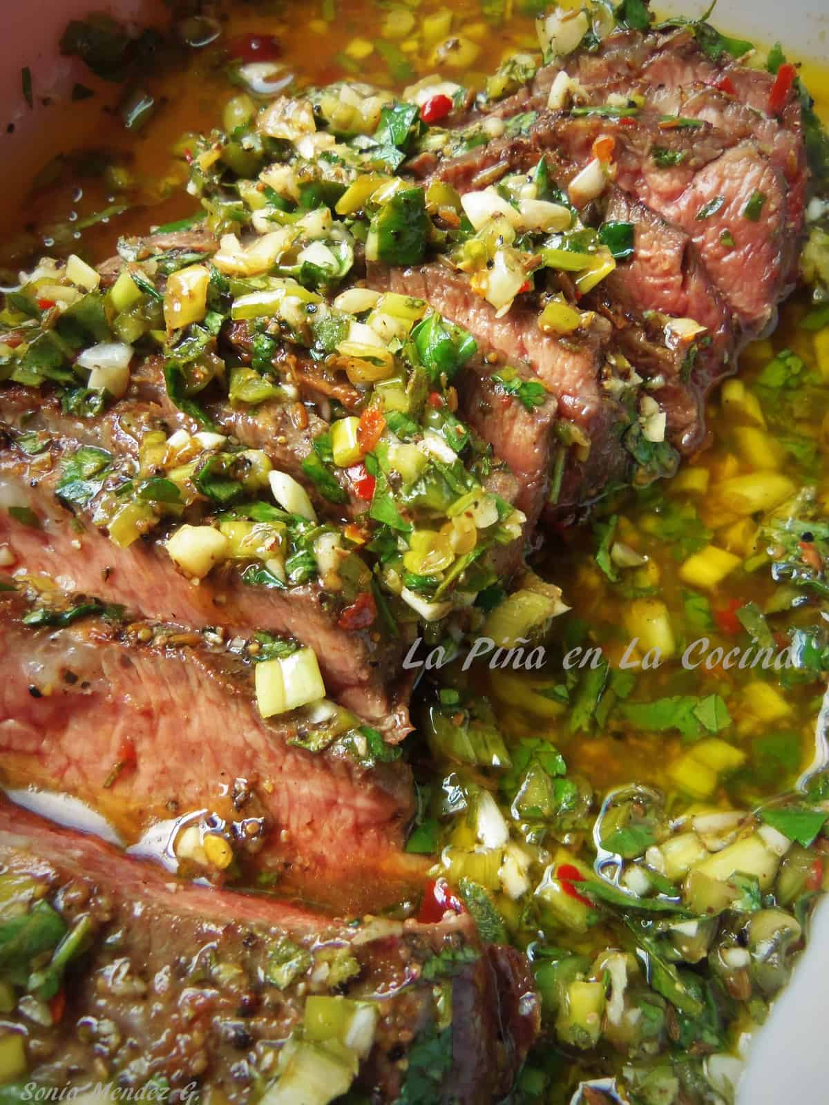Reverse marinated grilled chimichurri steak
