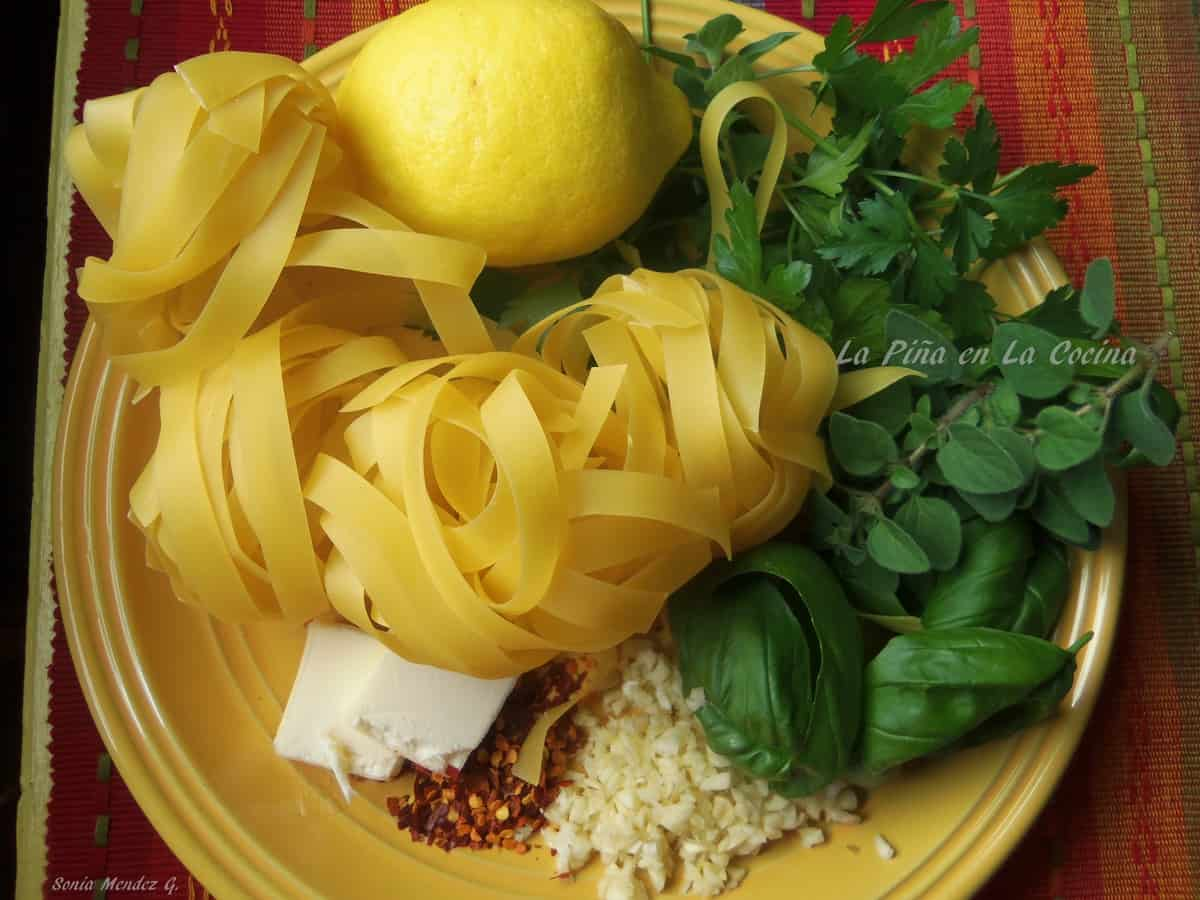 Parpardelle Pasta, Fresh Herbs from my garden, Lemon Zest, Butter, Garlic, Pepper Flakes....