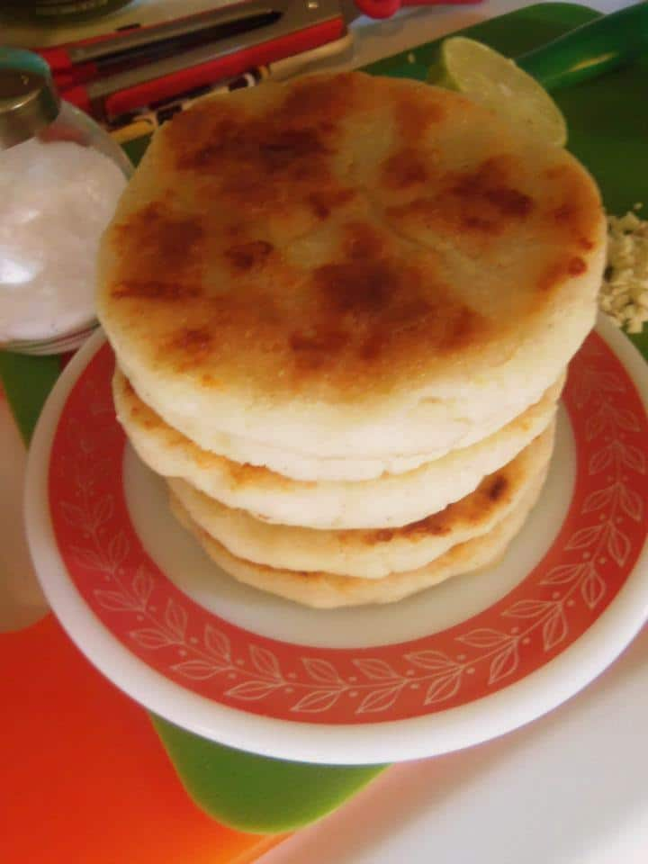 Arepas with cheese mixed into the dough