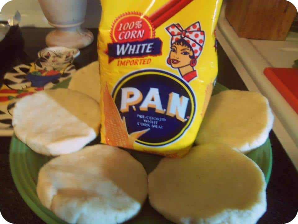 PAN brand white corn flour for making arepas