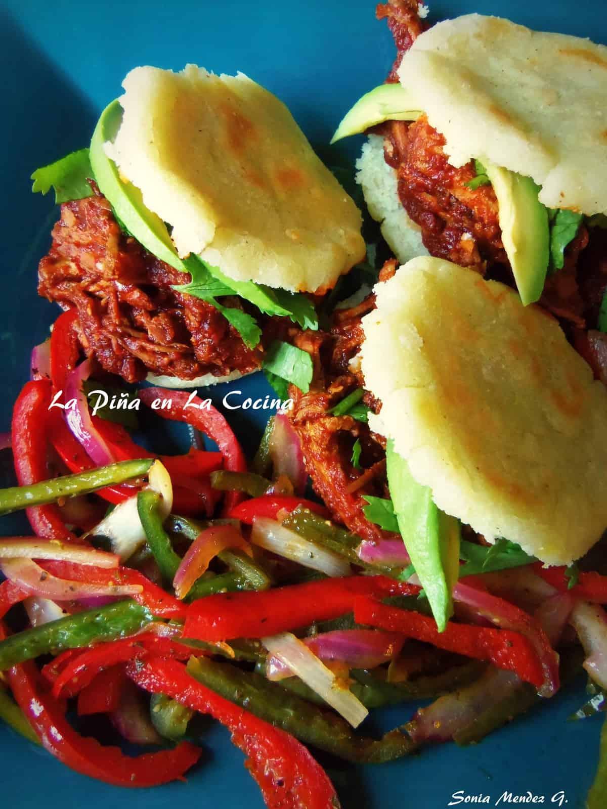 Adobo Chicken Arepas