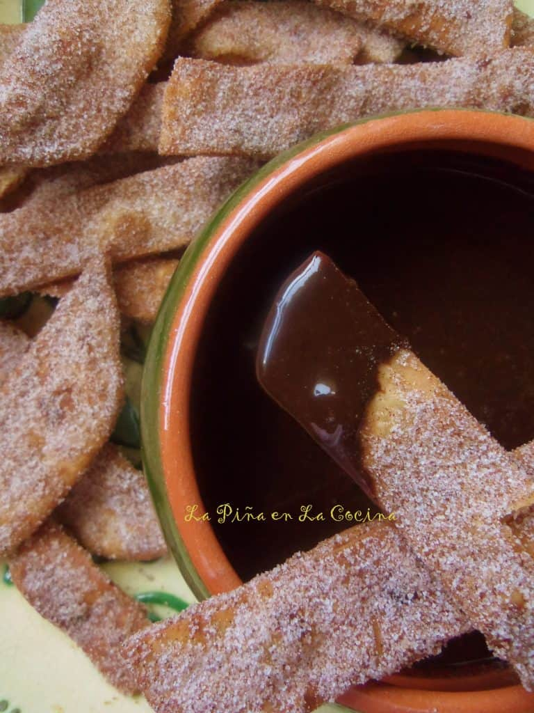 Buñuelo Strips with Mexican Chocolate Sauce
