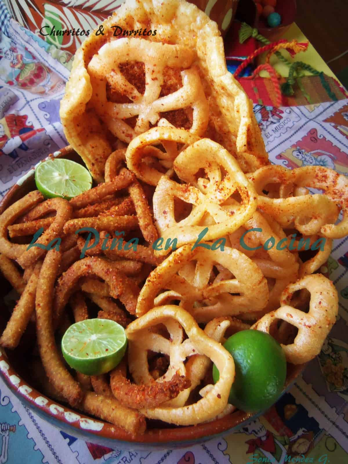 Churritos and Durritos. Two popular mexican snacks or antojitos