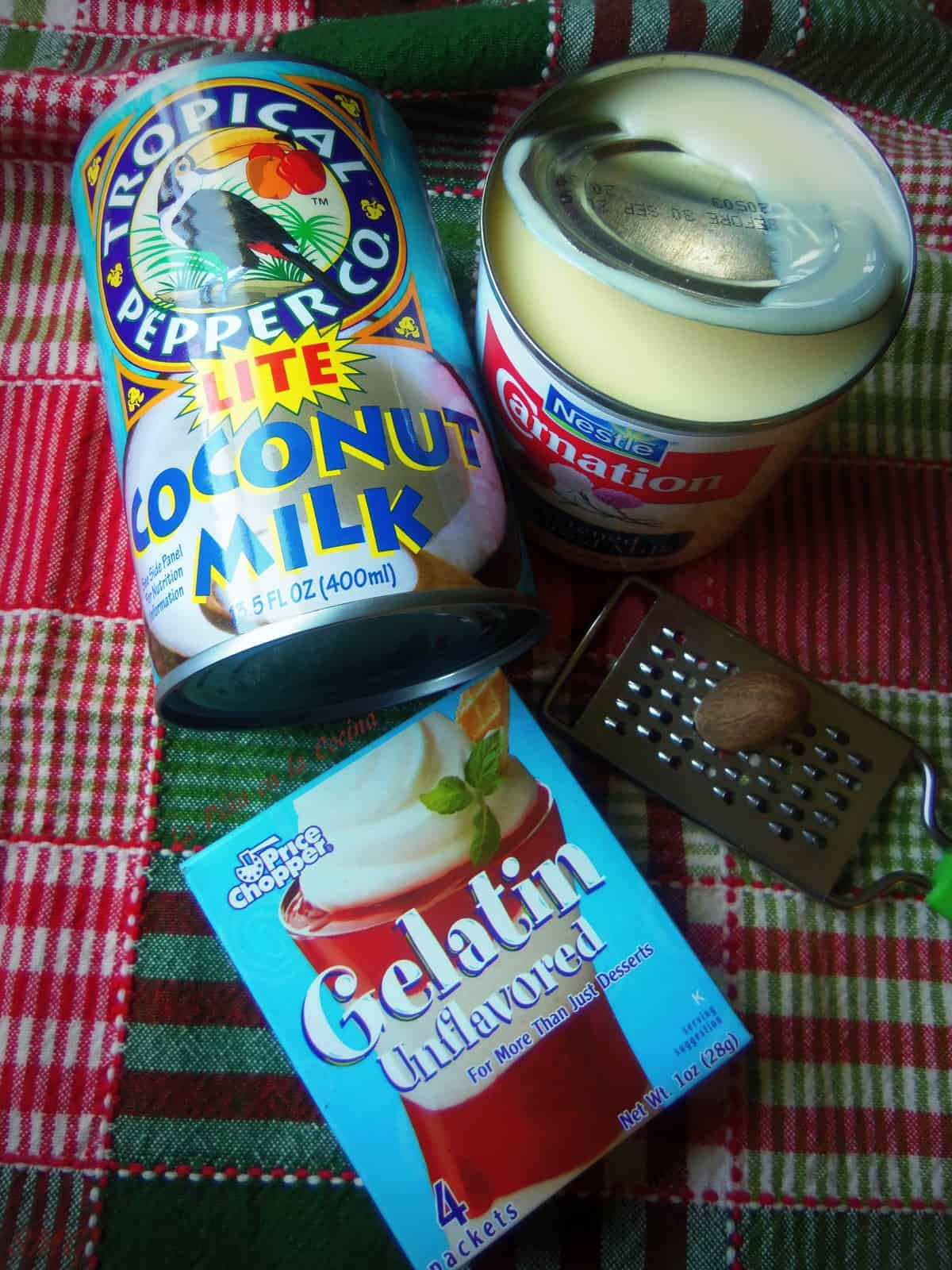 A few simple ingredients, lite coconut milk, sweetened condensed milk, unflavored gelatin and freshly grated nutmeg...