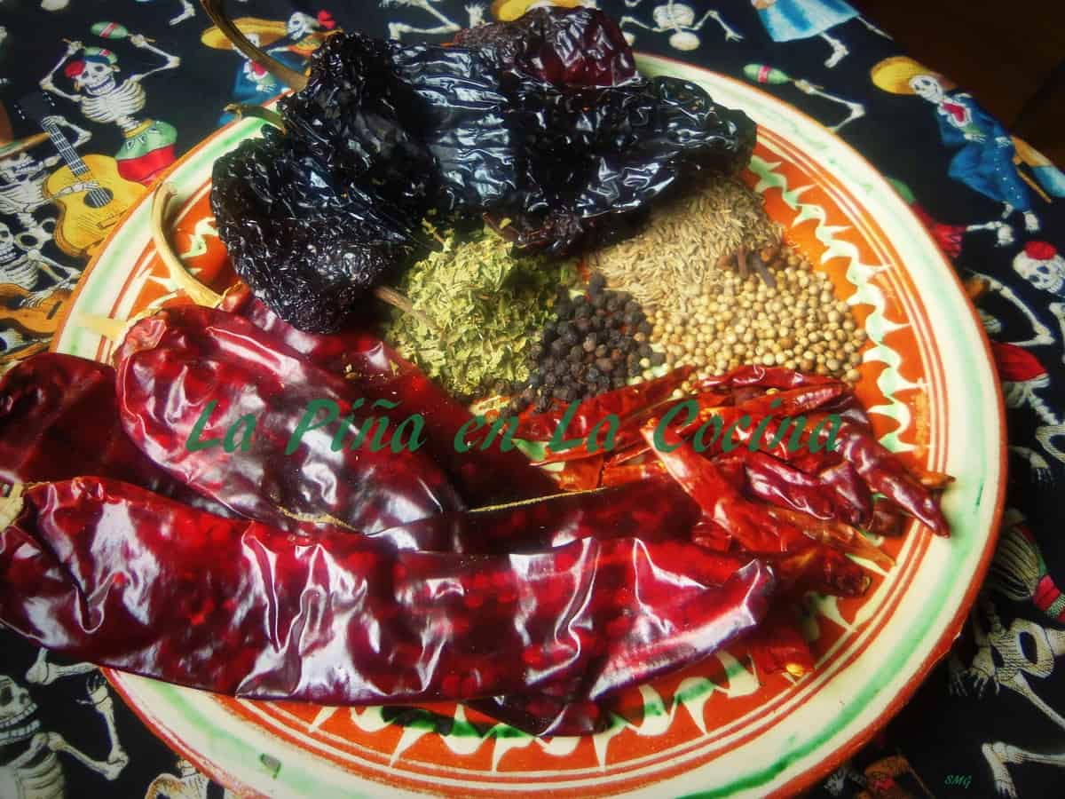 Chiles ancho, guajillo and arbol combine with spices like oregano, corinader, peppercorns, cumin seeds and cloves