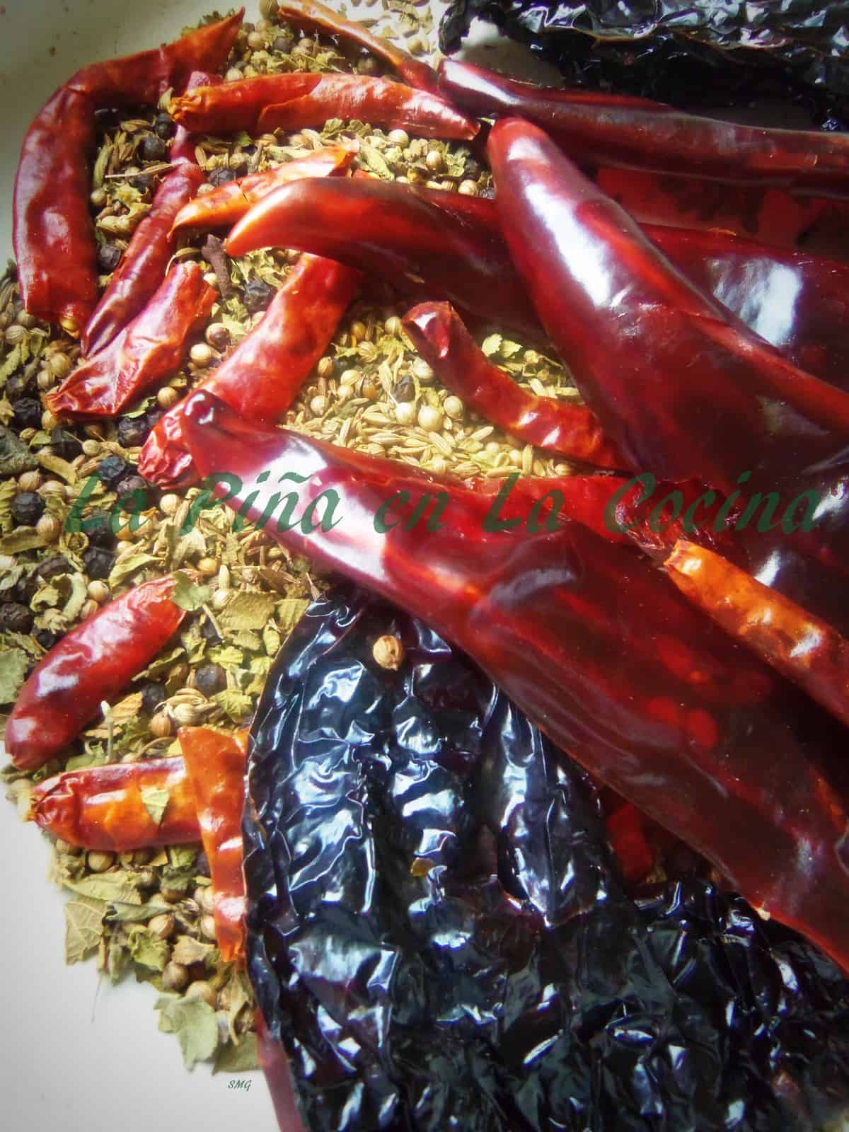 Tpasted chiles and spices cooling before being ground up for chorizo