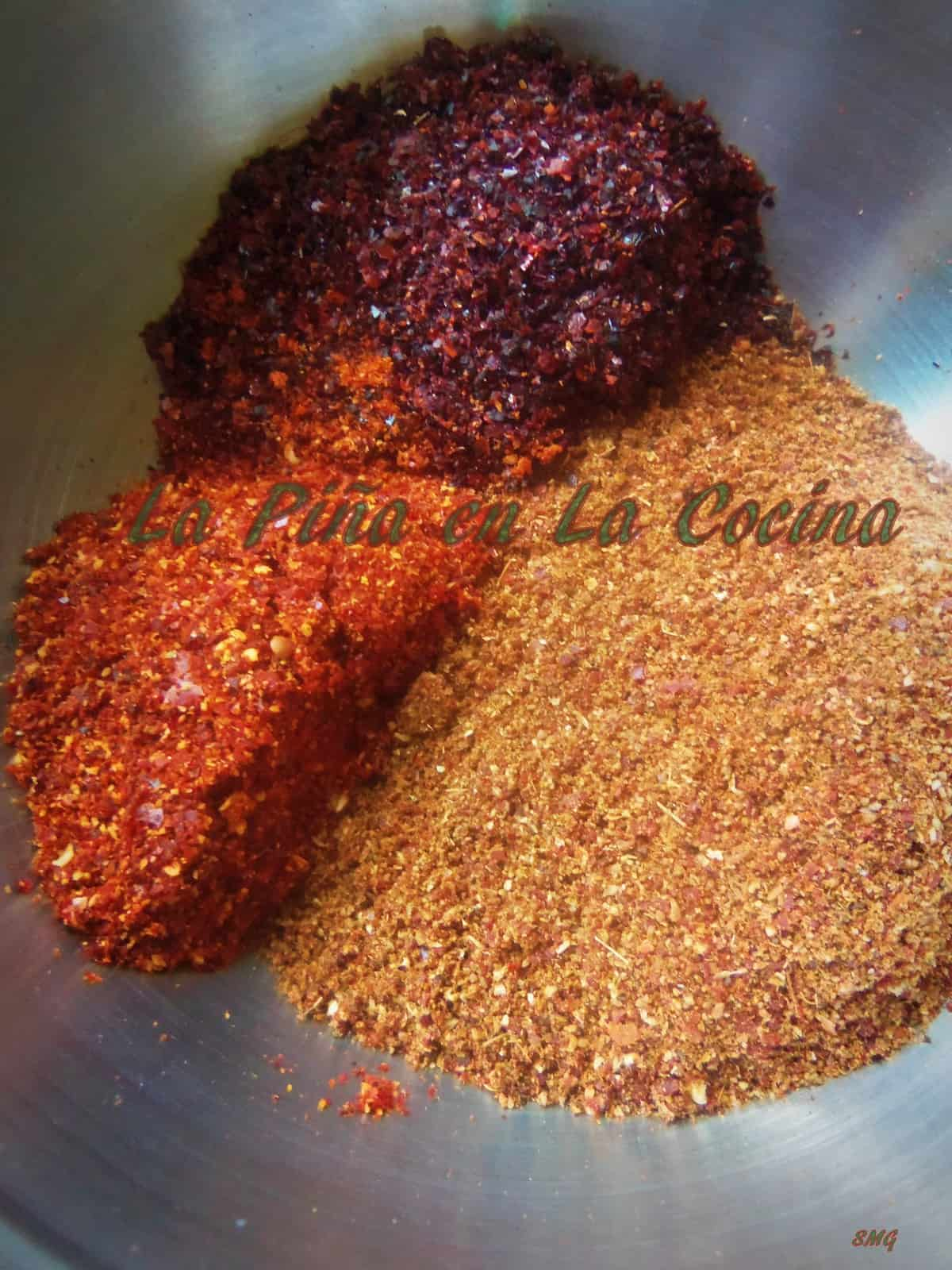 Freshly ground toasted chiles and spices for preparing chorizo