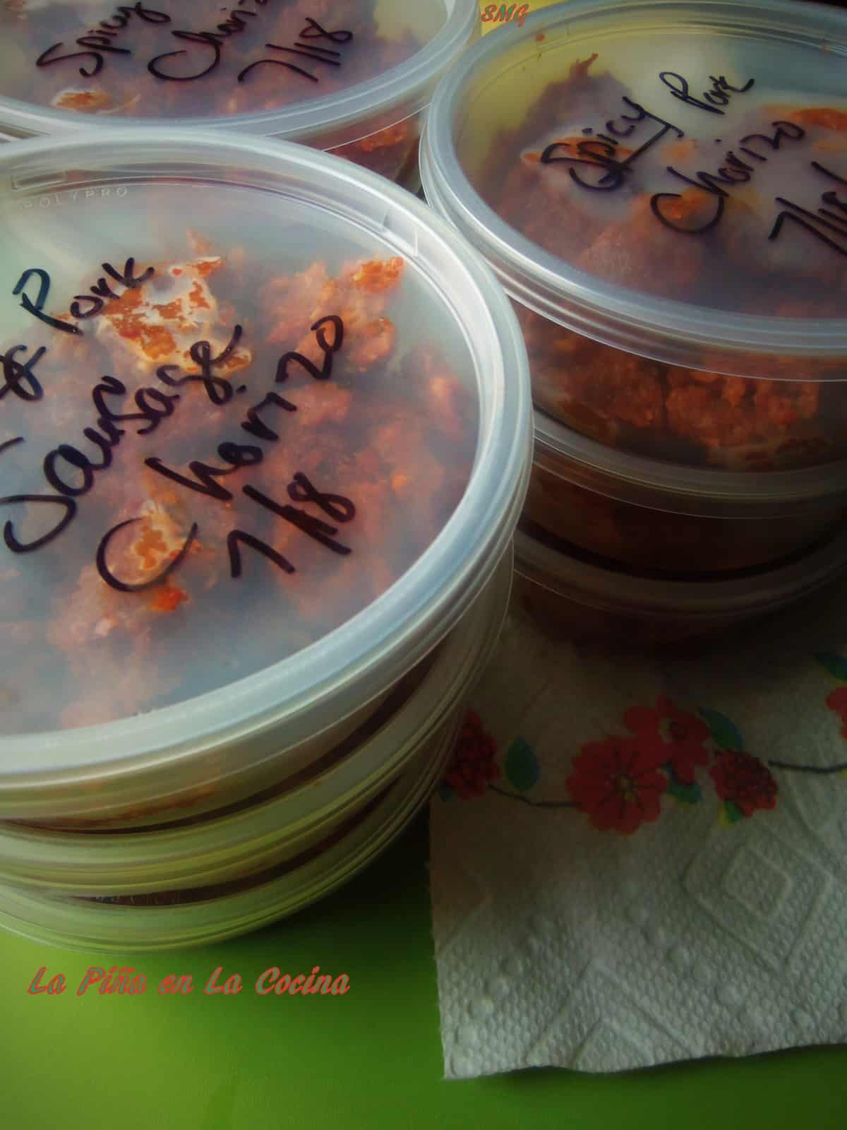 I found these inexpensive storage containers at a restuarant suply store. Work great for freezing the chorizo.