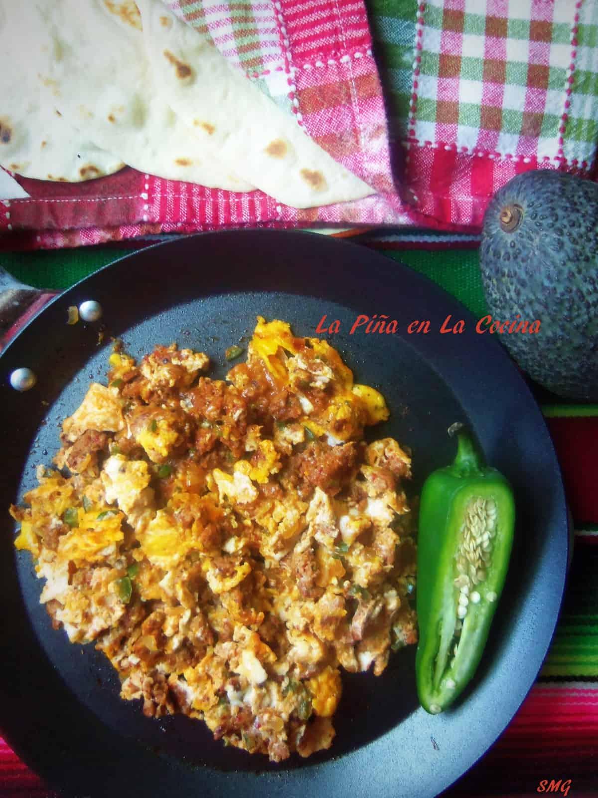 Don't forget to prepare a few homemade flour tortillas for your homemade chorizo con huevo