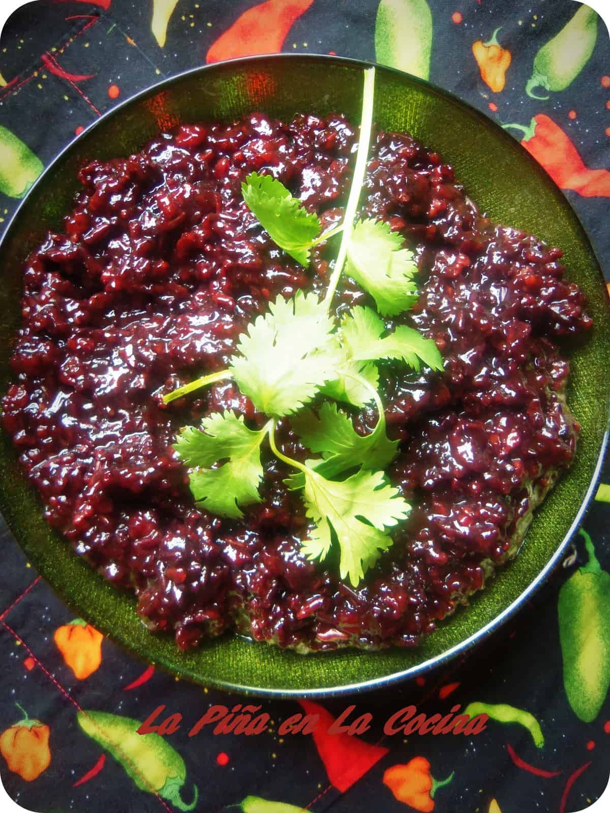 Black Thai Rice cooked in the pressure cooker