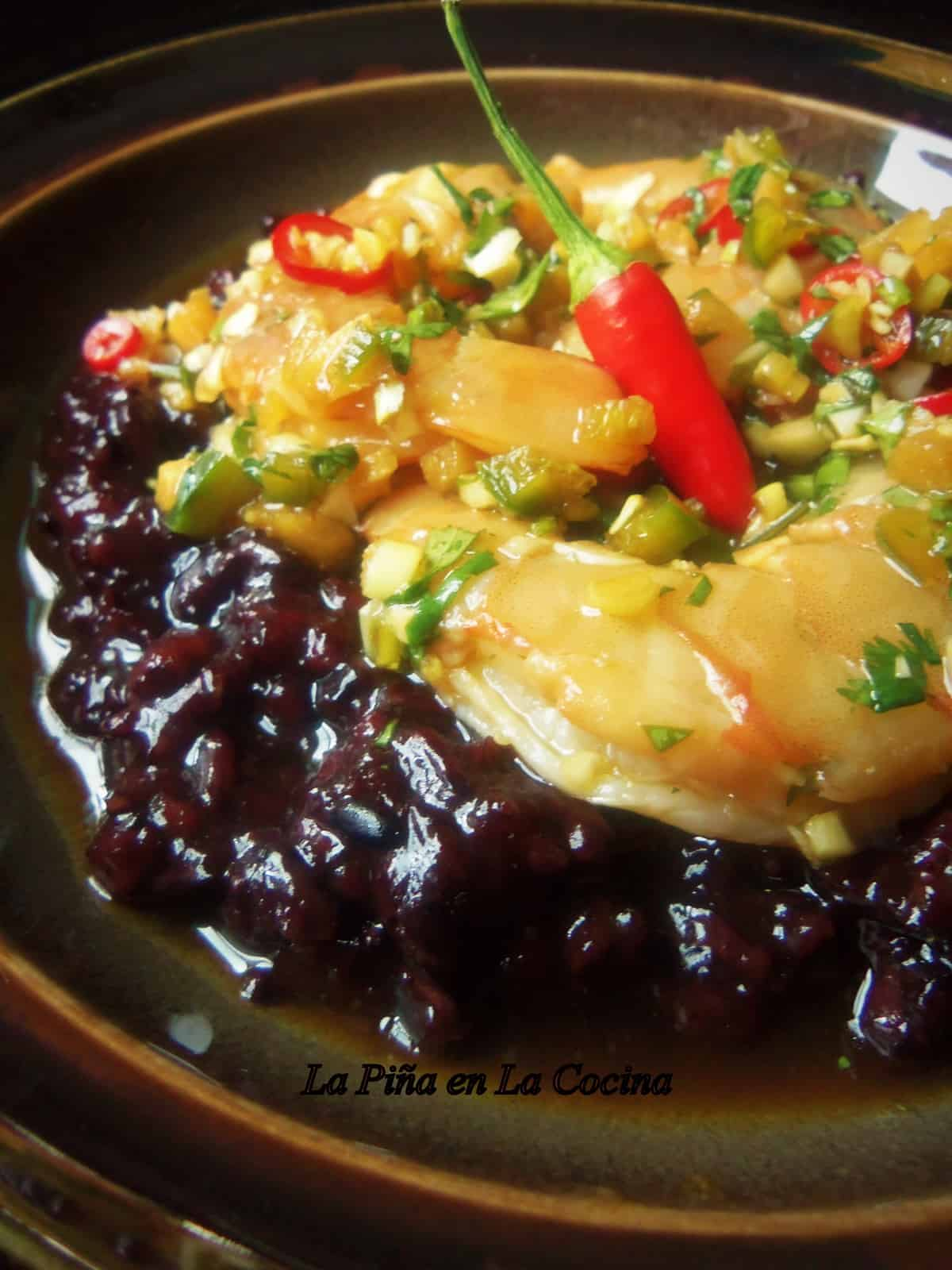 Spicy Asian Shrimp with Black Thai Rice