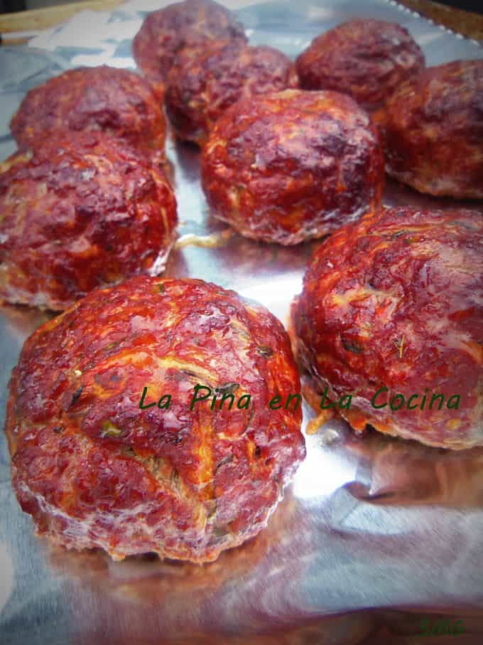 grilled meatballs on pan