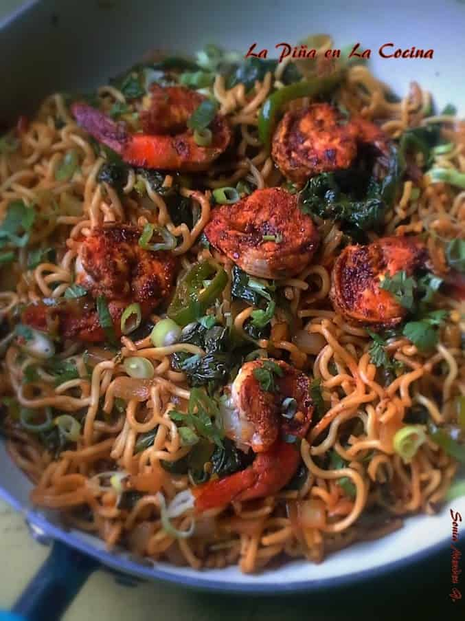 Chinese Noodles with Indian Spiced Jumbo Shrimp and Spinach