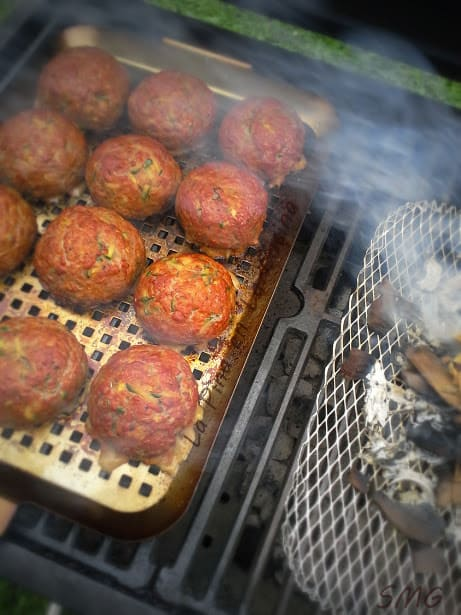 Grilled Beef and Zucchini Meatballs Stuffed with Hot Peppers...Smoked Shortly with Apple Wood Chips