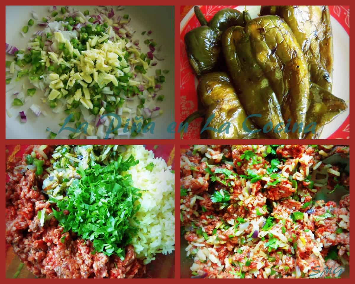 A simple filling of ground chuck, cooked rice, fresh cilantro with aromatics and spices...