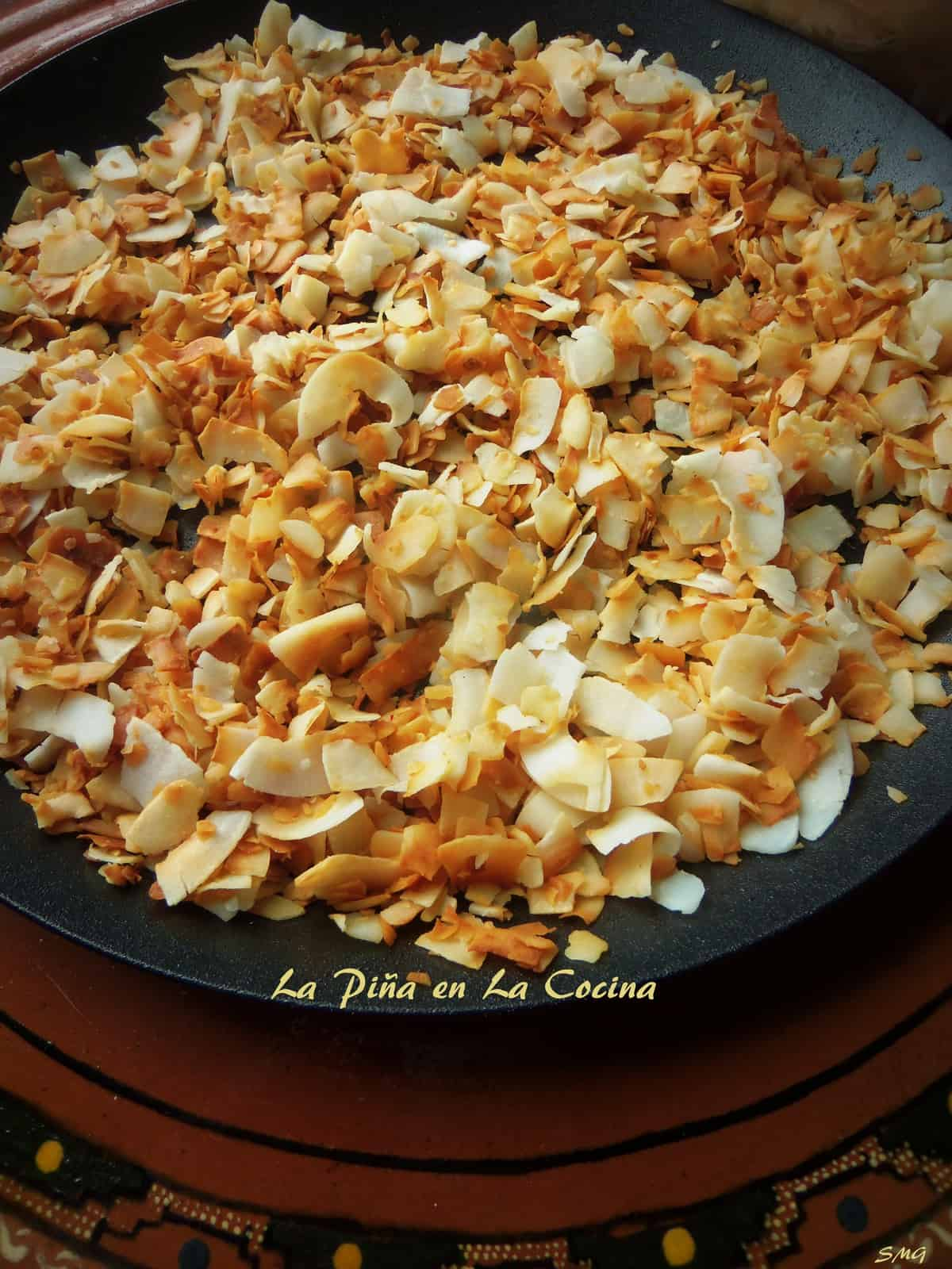 I prefer to use unsweetened coconut for my recipes. My crepe pan worked perfect for toasting.