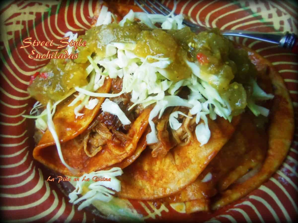 Street Style Enchiladas with shredded pork and topped with salsa verde