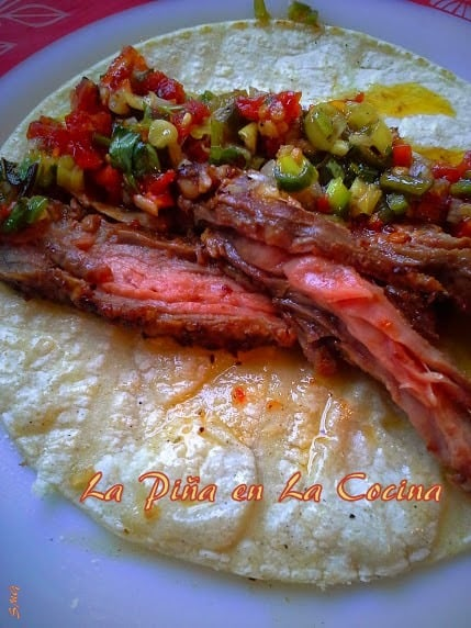 Chile Marinated Grilled Flank Steak Taco