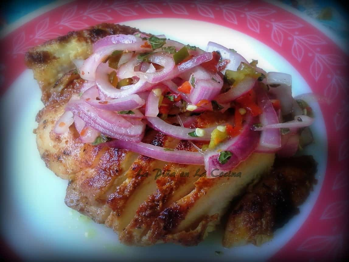Chile Dry Rub Grilled Chicken with Spicy Pickled Red Onions