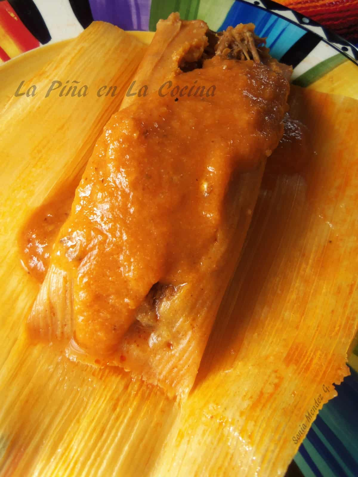 Pibil Pork Tamales with a warm tomato/serrano salsa