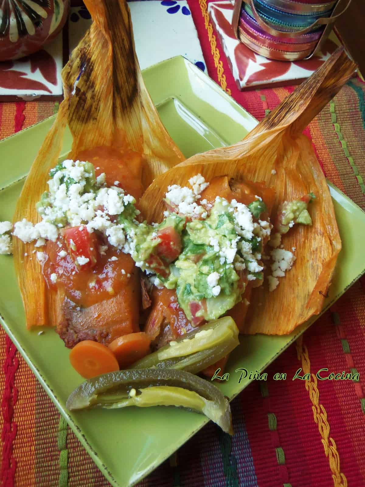 Pork Pibil Tamales Reheated the Next Day with Garnishes
