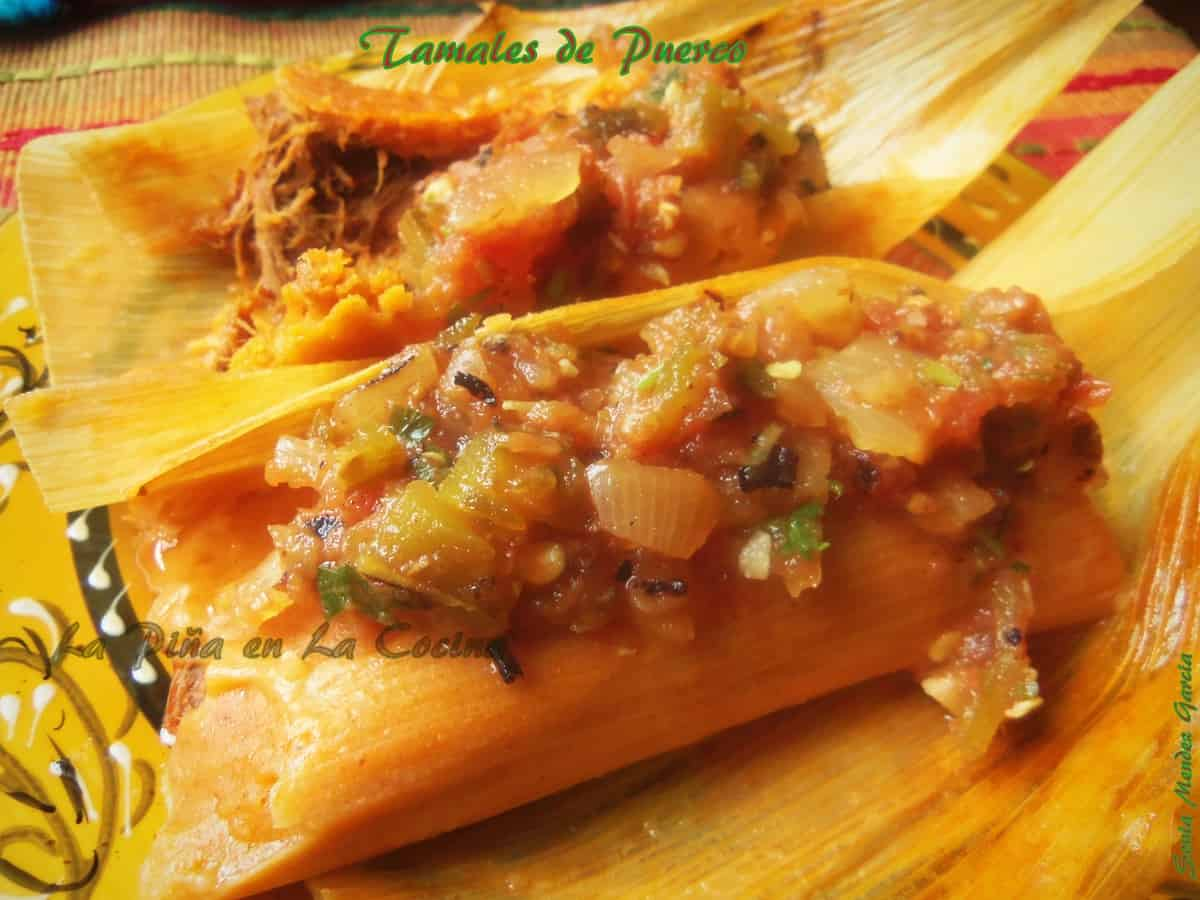 Pibil Pork Tamales with a Chilie Colorado Infused Masa Garnished With a Roasted Salsa