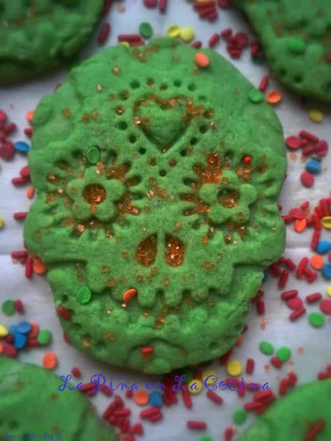 Using a basic recipe for Polvorones I prepared these  fun Calavera cookies