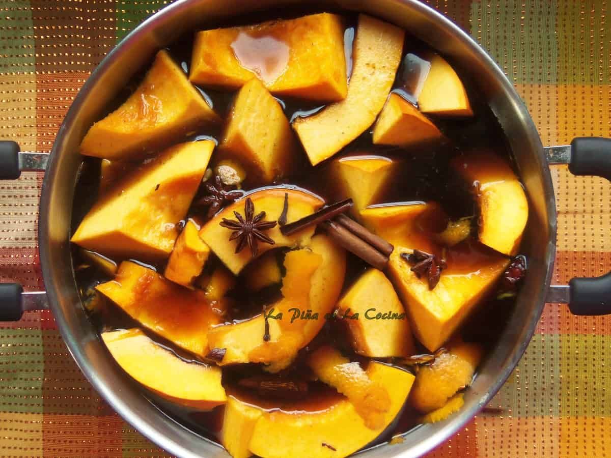 Piloncillo (brown sugar), Cinnamon, Star Anise, Cloves, Orange, Zest all Combined with Fresh Pumpkin...