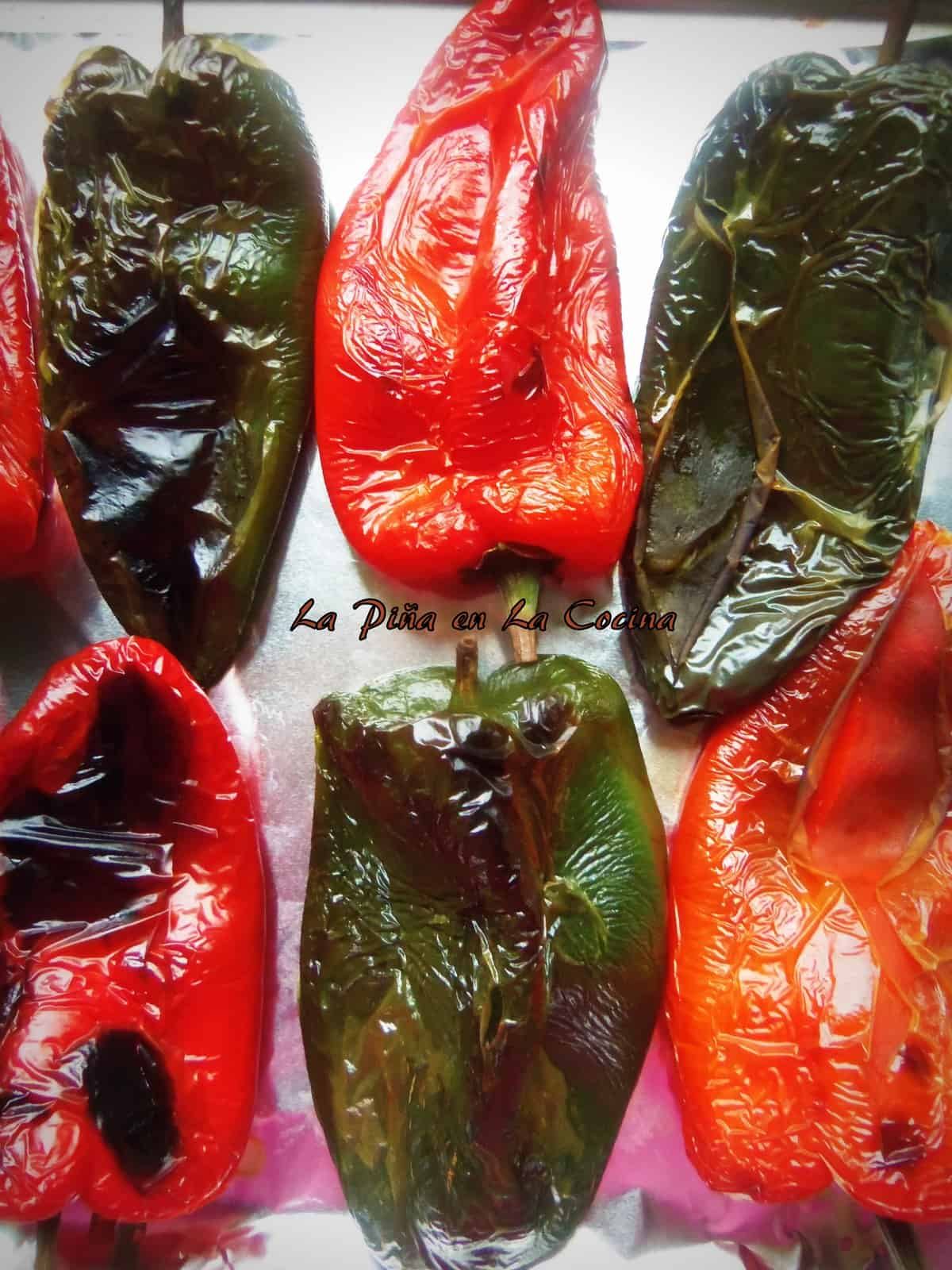 Roasted red and Green Poblanos