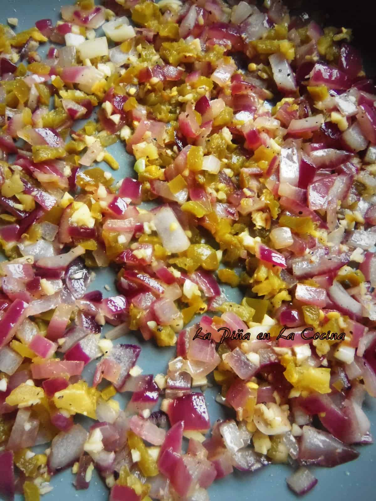 Saute of red onions, garlic and pickled jalapeños