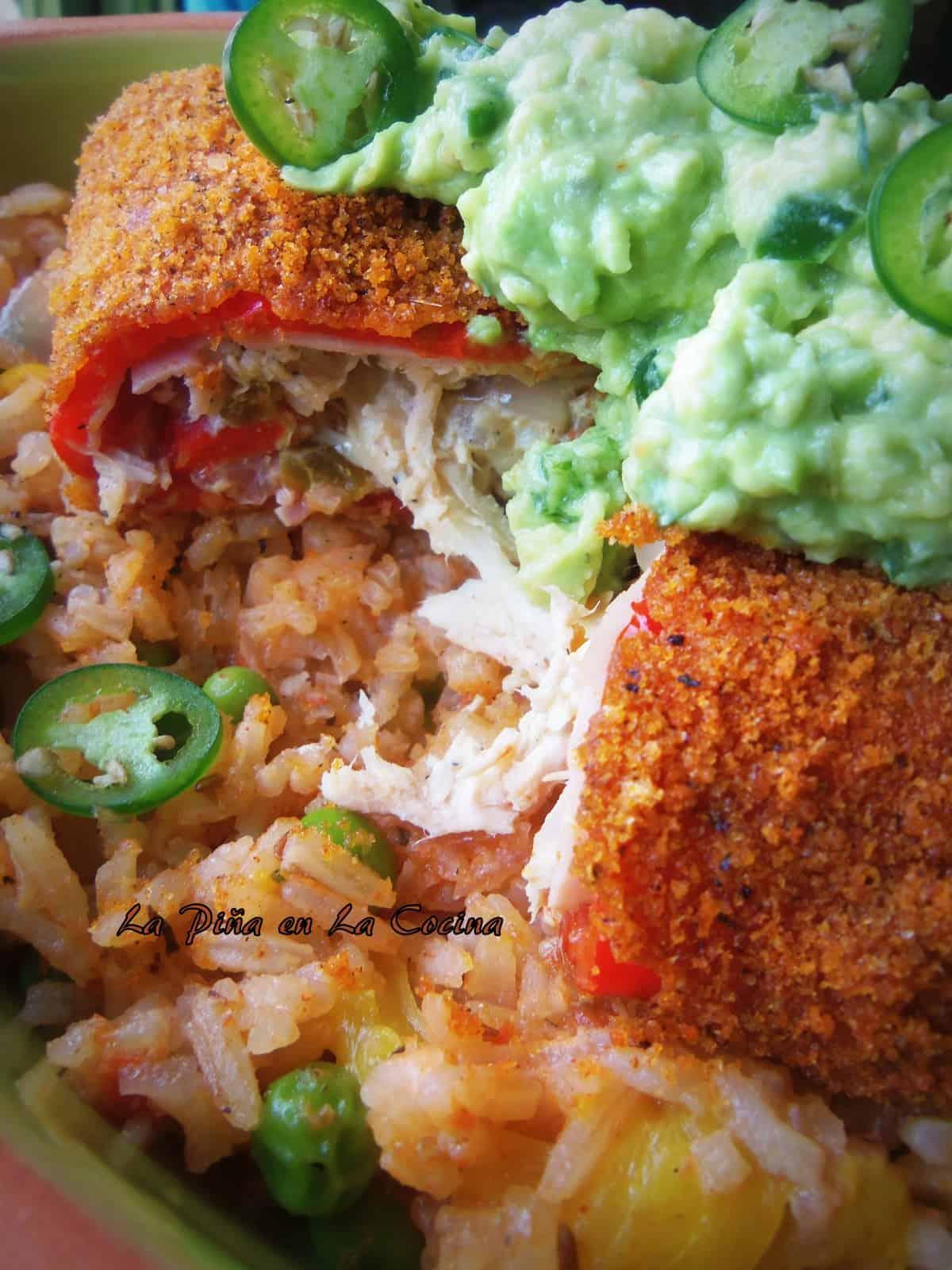 Chicken Stuffed Poblanos/Chiles Rellenos de Pollo