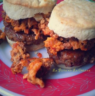 Homemade Breakfast Sausage Biscuits with Chorizo con Huevo