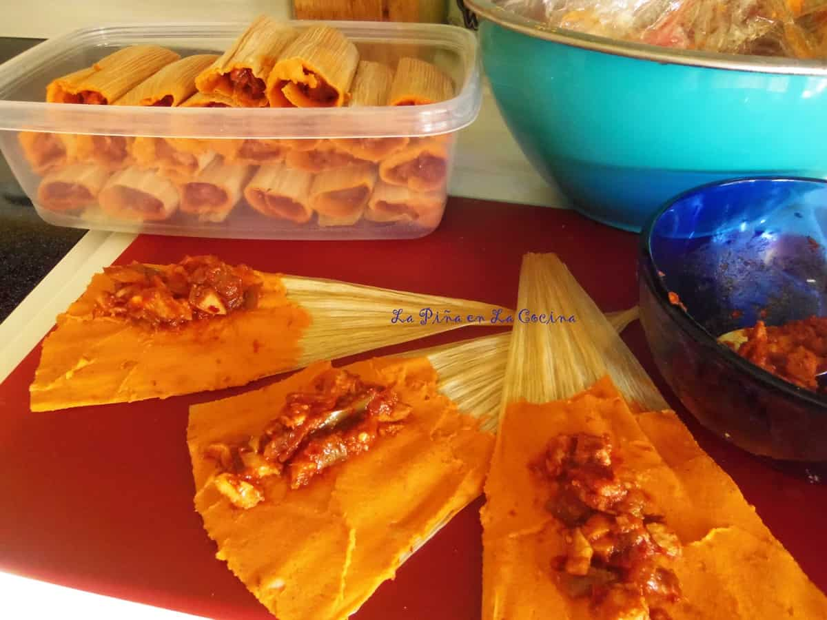 For this recipe, I prepared both a pork tamal and a chile and cheese tamal.