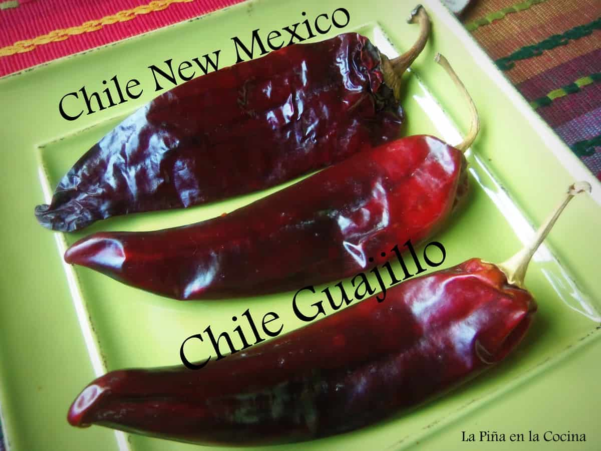 New Mexico, Guajillo and Chile California all similar in flavor, slight heat difference