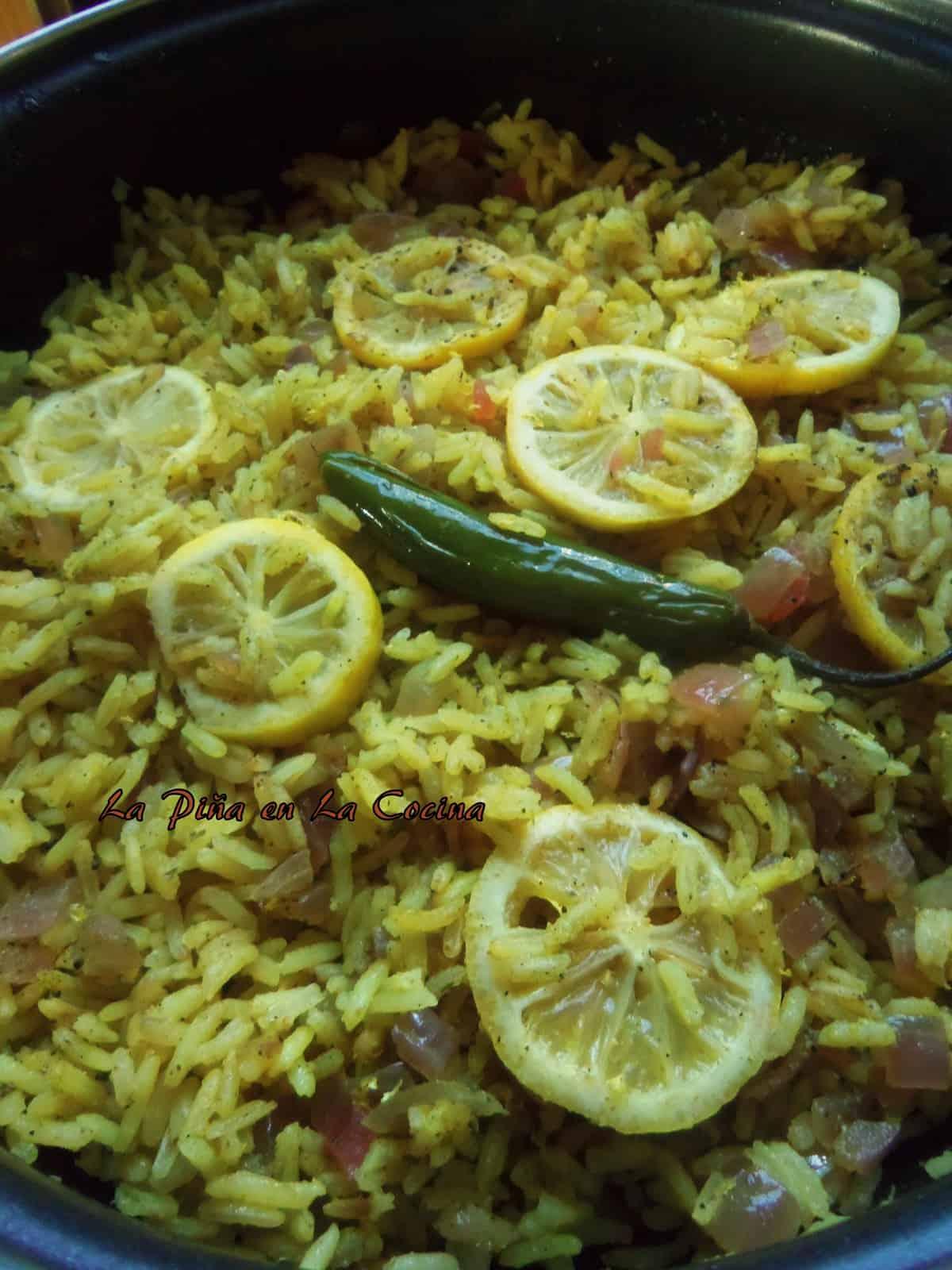 Lemon Infused Jasmine Rice with Chicken Broth