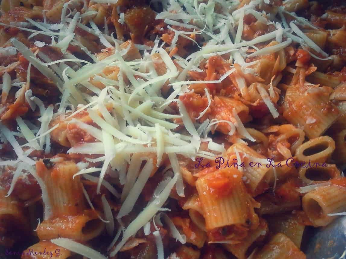 Chorizo Bolognese Sauce tossed with Rigatoni and Parmesan Cheese