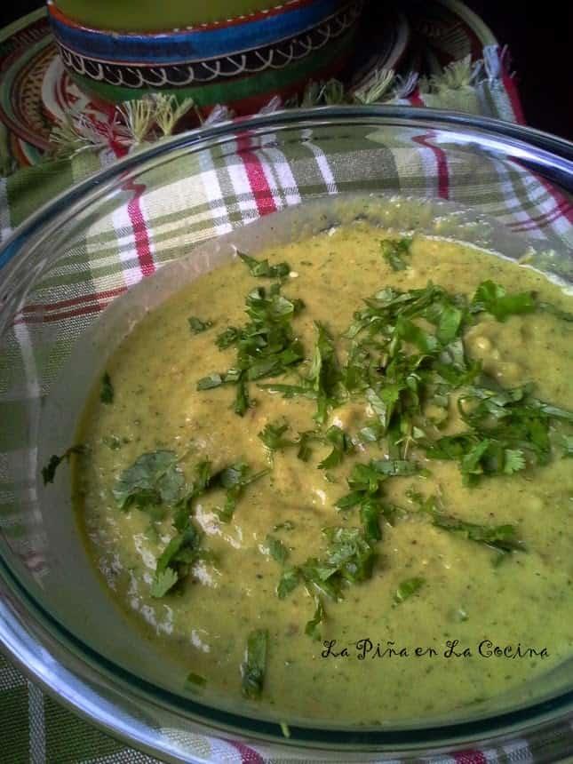Roasted Tomatillo Serrano Salsa with Avocado