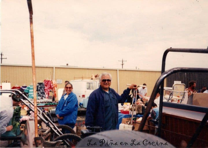 My parents at the flea market...they always made the best of it.