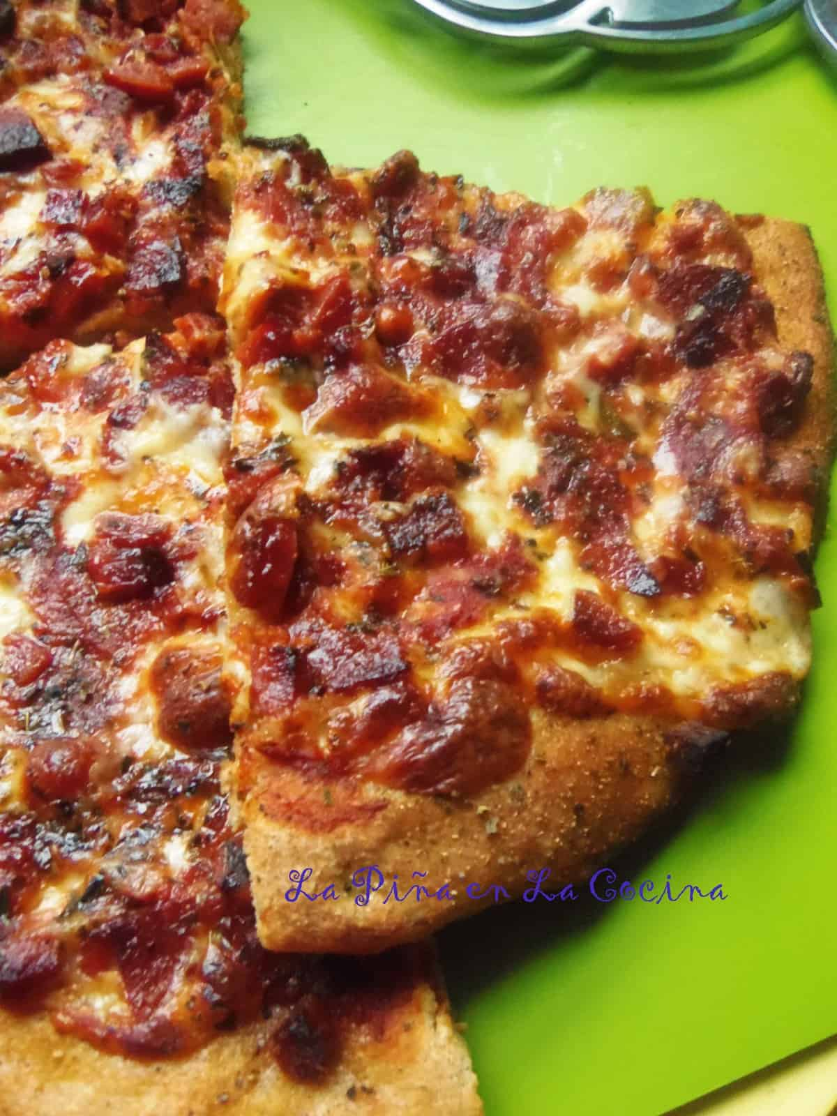 For the first pizza, I did not stuff the crust with cheese and just added cheese, sauce and chopped pepperoni. My husband's favorite!