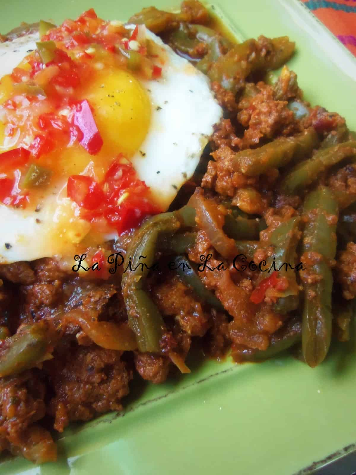 Nopalitos con Chorizo, Sunny Side Up Egg with Habanero Fresno Hot Sauce