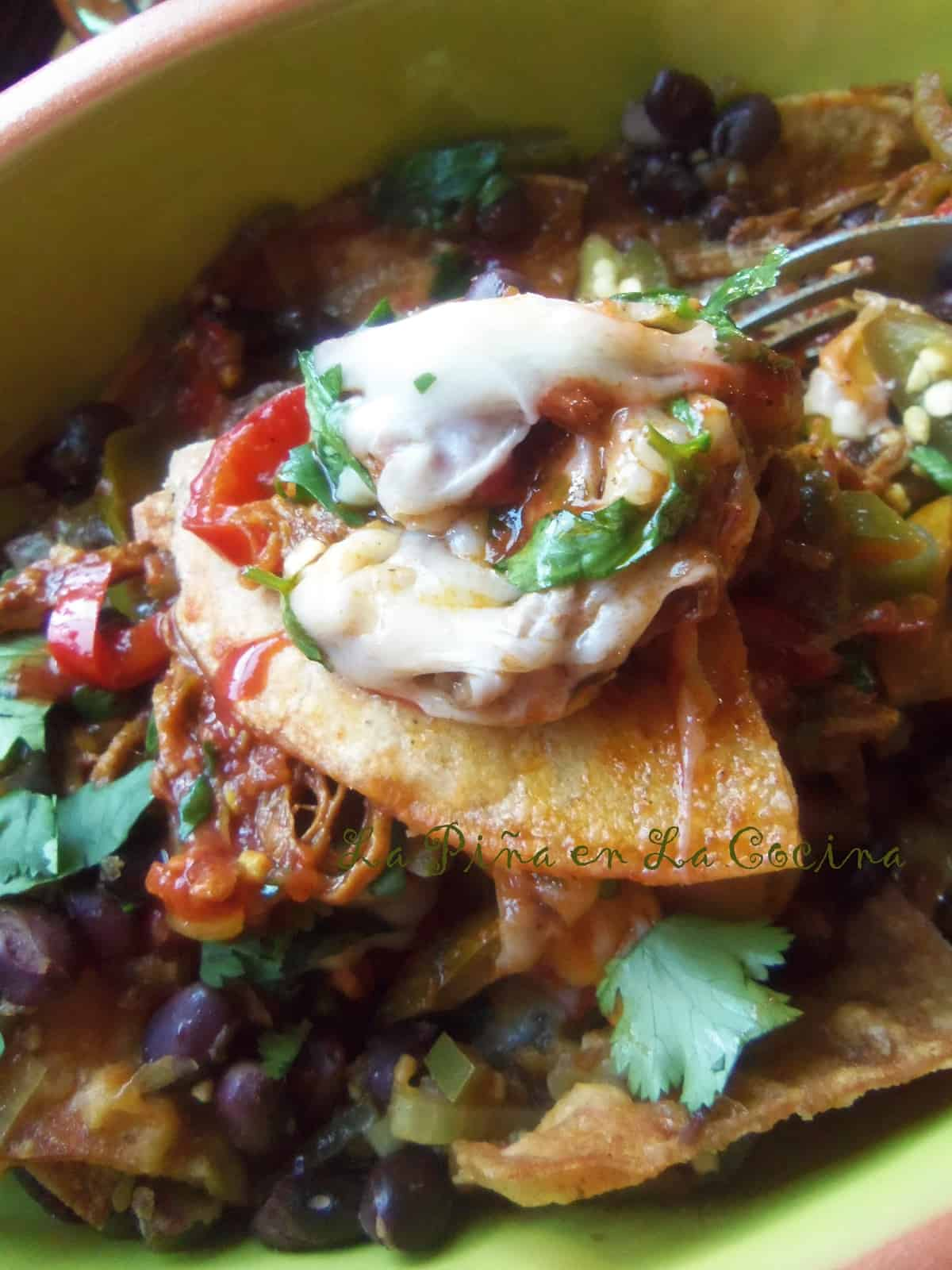 Using homemade chips or a good quality store bought chip, this is a tasty twist on traditional Tex Mex Nachos.