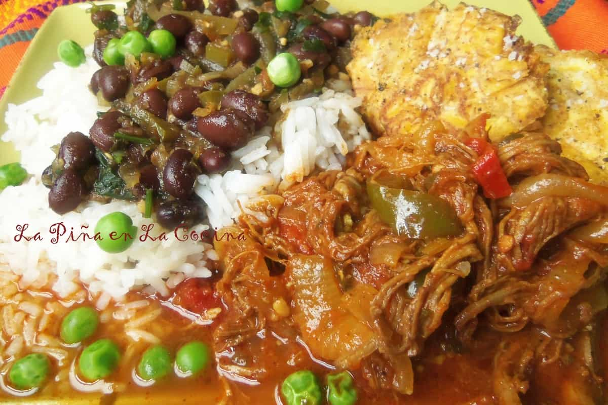 Ropa Vieja, Steamed Rice, Black Beans and Tostones