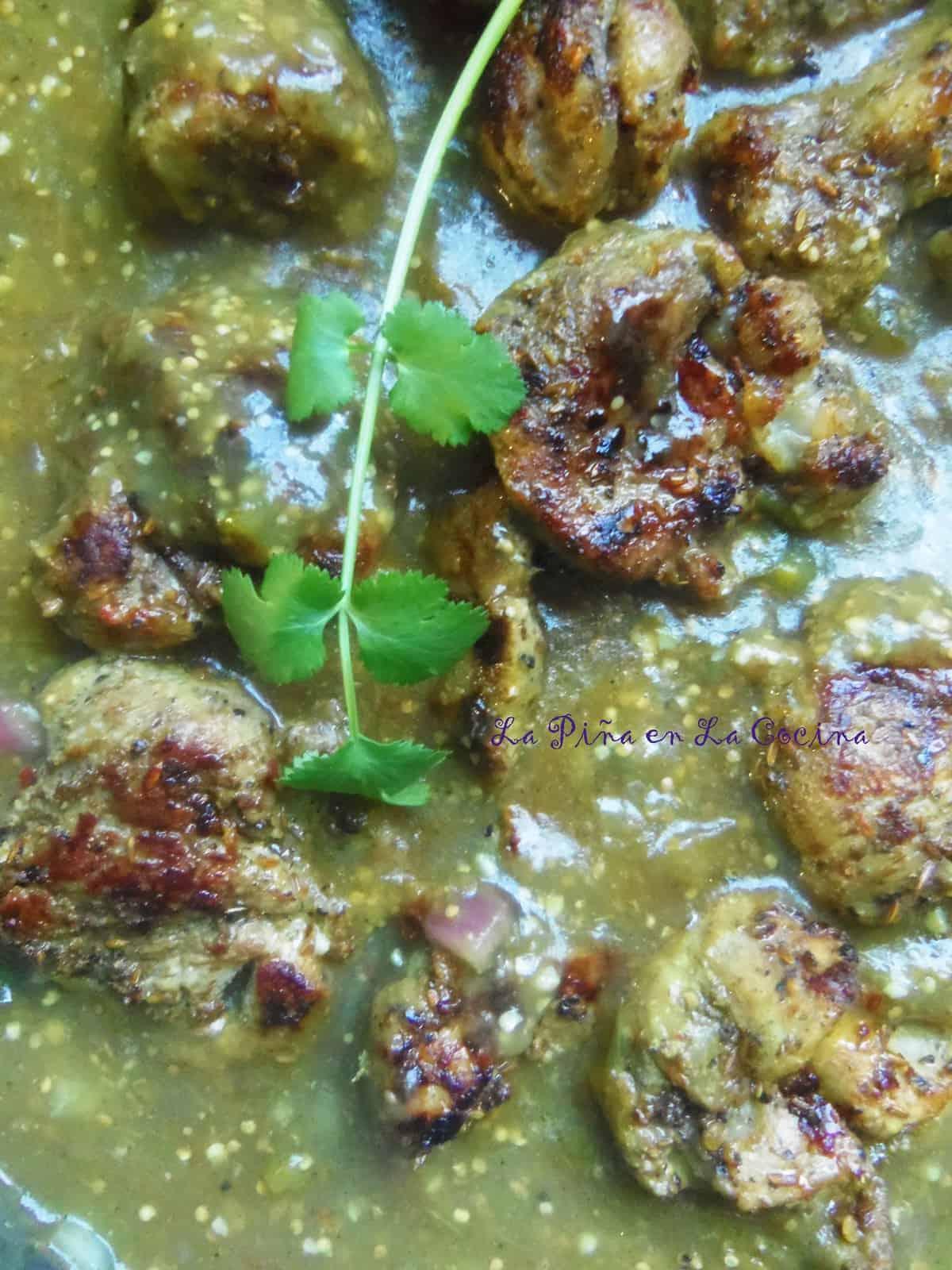 Pork Tenderloin Tips in Salsa Verde