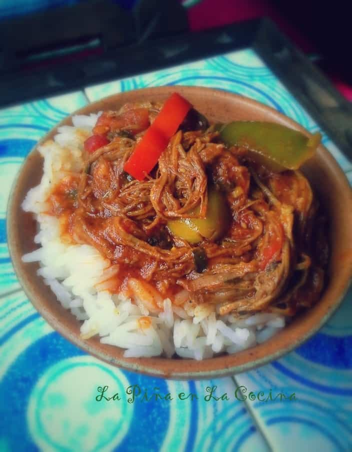 On the first night, a little taste of the ropa vieja over steamed white rice