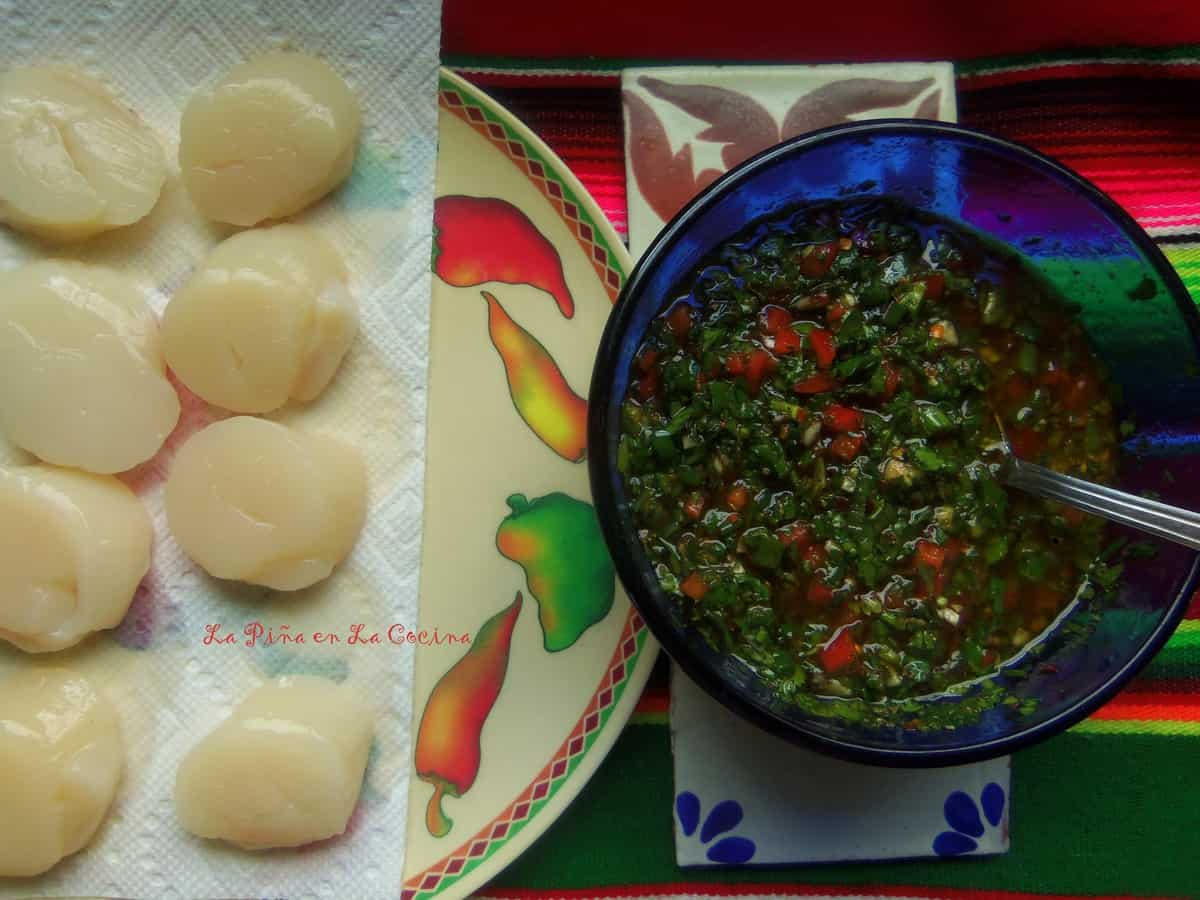 A quick sear on each side and right into the zesty chimichurri!