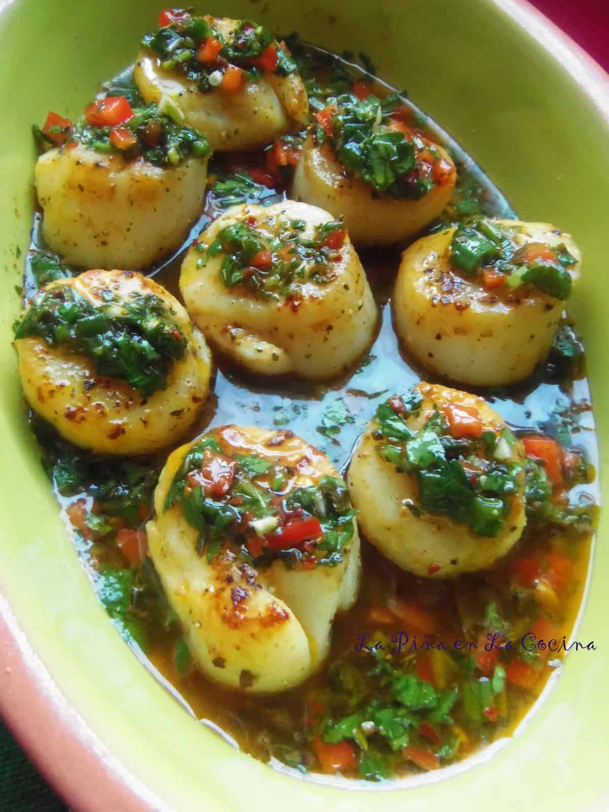 Seared Scallops in a Chimichurri Style Sauce